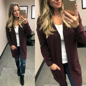 BP. Lightweight Rib Stitch Burgundy Cardigan XS